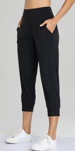 Womens Capri Joggers High Waist Pockets Running Sweatpants Jogger Pants