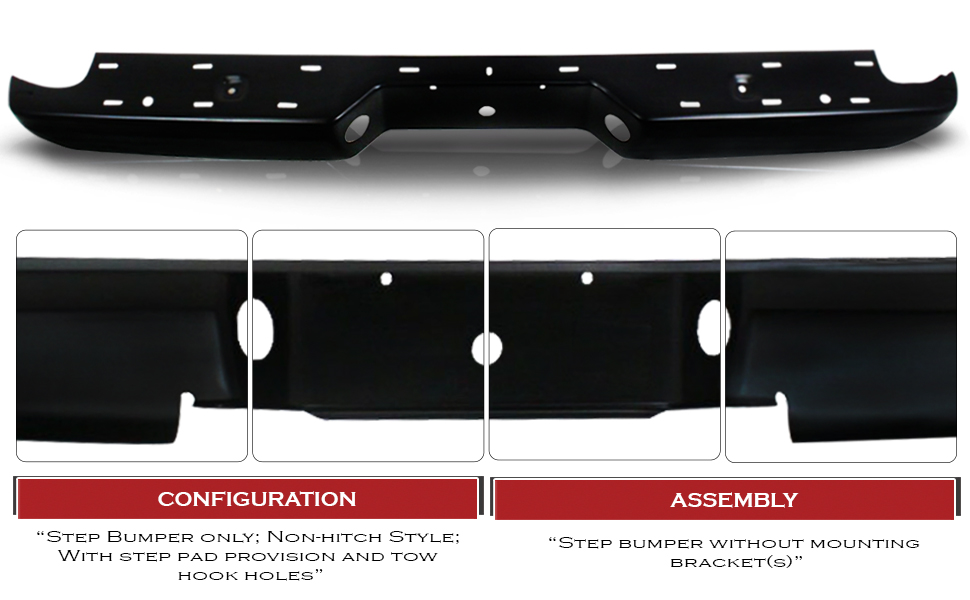 FO1102379 Make Auto Parts Manufacturing Rear Black Steel Step Bumper with Step Pad and License Plate Provision For Ford Ranger 1998-2011