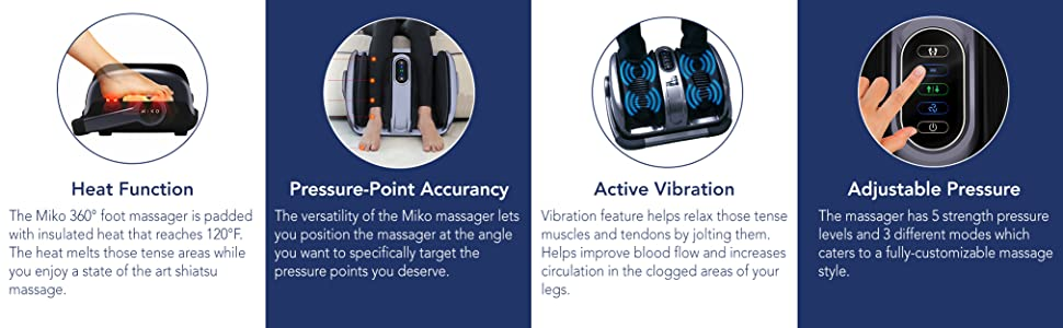 Heat function, pressure point accuracy, active vibration, adjustable pressure.