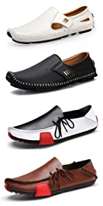 Loafers for Men Driving Shoes Penny Loafers Casual Leather Stitched Slip On Shoes