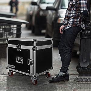 Sound Town 8U PA DJ Pro Audio Rack/Road Case, Slant Mixer Top, Casters, 8 Space Size (STMR-8UW)