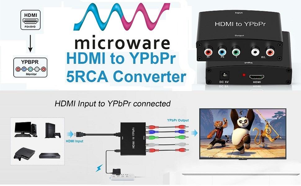 HDMI to YPbPr 1080P5RCA RGB + R/L Video Audio Adapter
