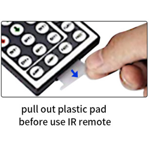 pull out plastic pad before use IR remote