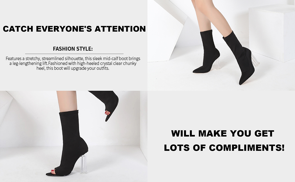 Mid-Calf Boots Stretch Booties