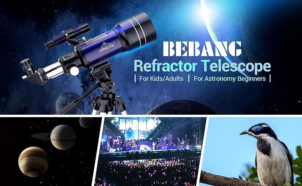 telescopio astronomico principianti bambini adulti aurora luna pianeta meteorite paesaggio uccelli
