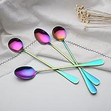 tama/ño : Small WAGA Cuchara de caf/é 304 cucharas de Postre cucharaditas con Colgante Color de Arco Iris for Mezcla de t/é Helado de az/úcar agitaci/ón cucharas de cucharas de 8