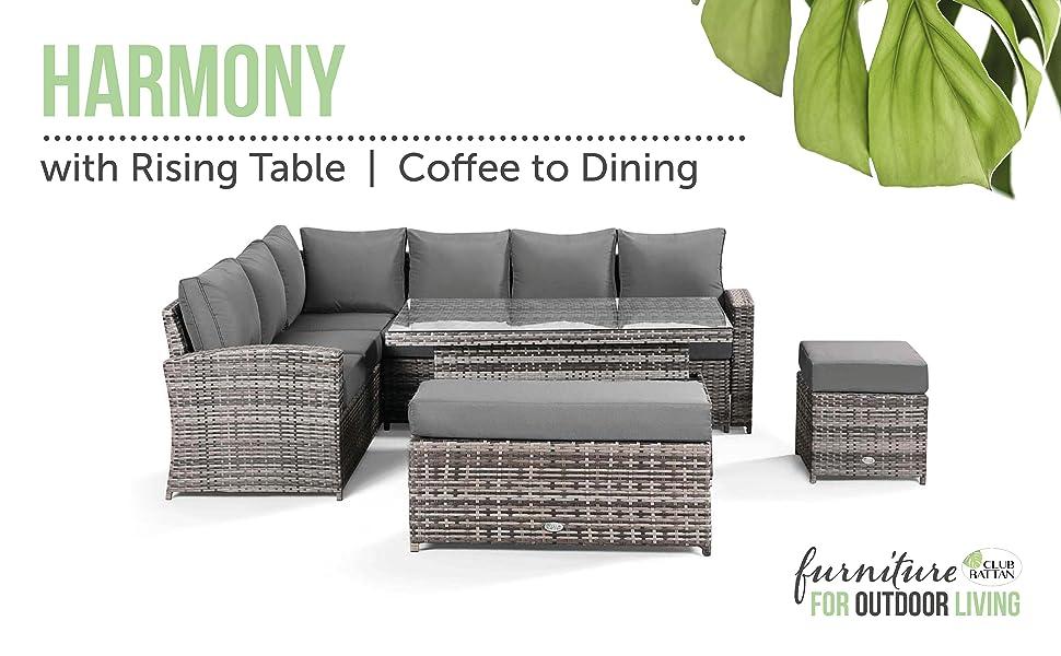 Harmony, Garden Corner Sofa, Dining Table, Outdoor Dining Table, Rattan Garden Sofa, Corner Sofa