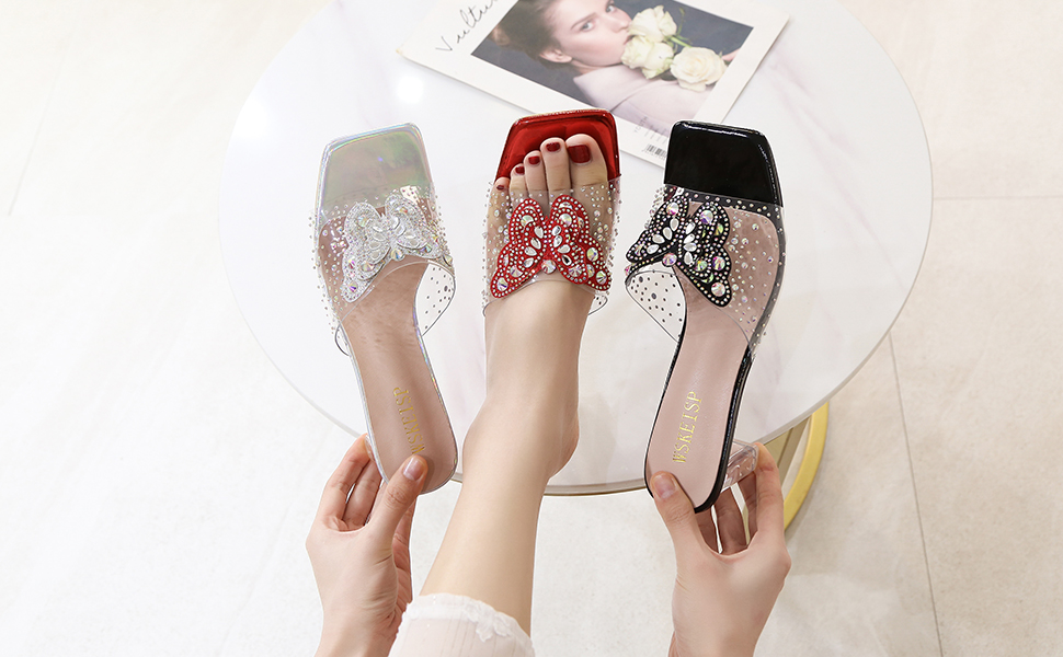 Women's Clear PVC Heeled Mules Sandals Rhinestone Butterfly Slip On Lucite Block Chunky Heels Slides