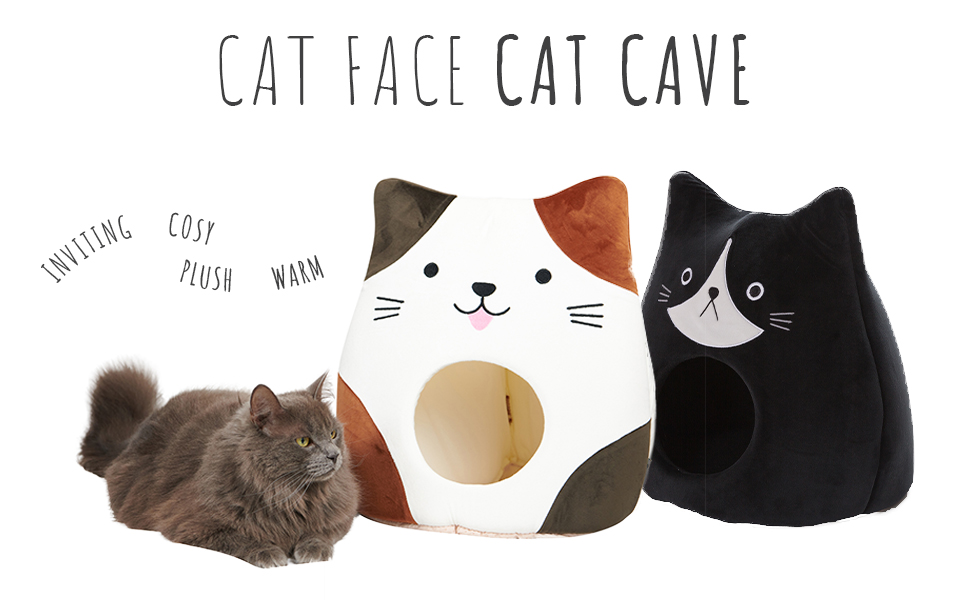 All Fur You Cat Face Cat Cave Cubby House Indoor Pet Dog Small Comfy