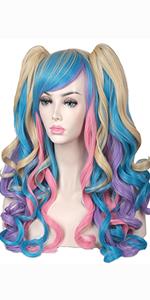 pink blue blonde wig