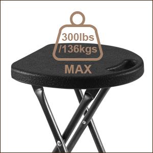 RFIVER 2 Taburetes Plegables de Metal y plástico Ligero de Color Negro 33 x 30 x 46 CH1001
