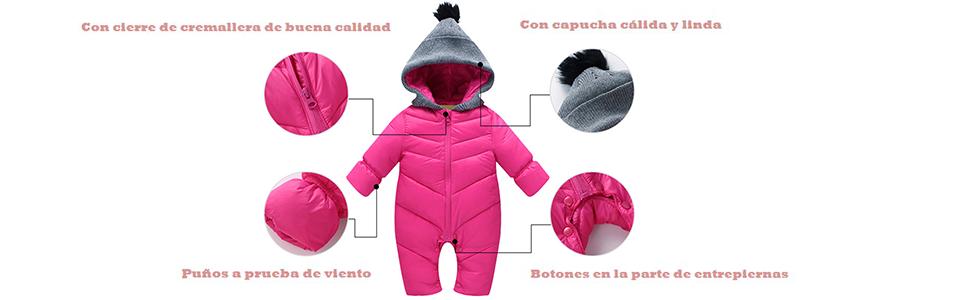 Happy Cherry Ropa de Una Pieza Prenda Exterior Chaqueta de Invierno con Capucha Mono Calentito Enterizo para 0-18 Meses Bebés Niños Niñas: Amazon.es: Ropa y accesorios