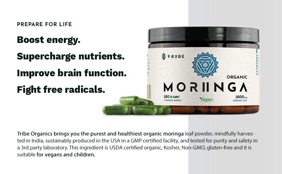 Tribe organics moringa pure leaf powder extract anti-infammatory and respiratory disorders