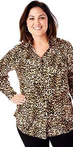Leopard Print Button Down Plus Size