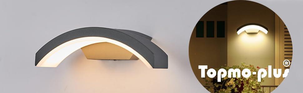 Topmo-plus 24W LED Focos pared Exterior/Osram SMD/apliques pared IP65 jardín, Garaje, Patio, Camino, Eacaleras, Pasillo, Terraza, Camino de Entrada 27CM gris/blanco cálido (no Sensor de Movimiento): Amazon.es: Iluminación