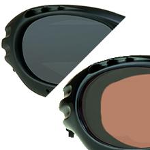 motorcycle biker goggles sun glasses shades  polarized anti glare cuts lens strap foam blocks wind