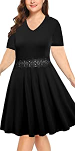 BEDOAR Women's V-Neckline Floral Lace Embroidery Stretchy Casual Midi Plus Size Bridesmaid Dress