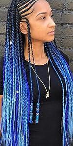 prestretched braiding hair ombre blue braiding hair pre stretched braiding hair kanekalon hair ombre