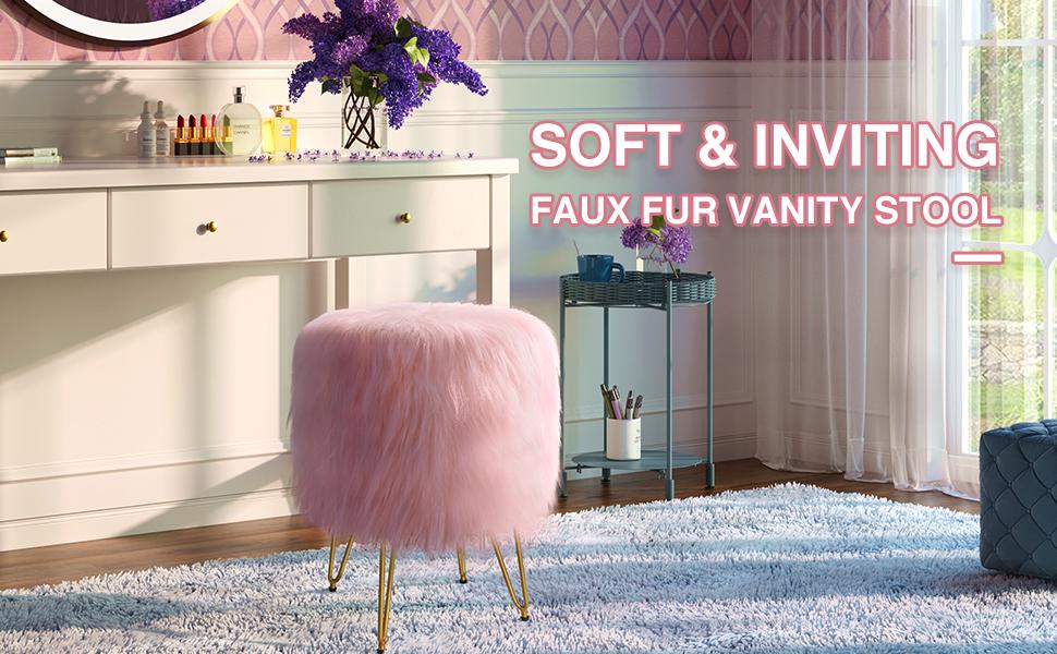greenstell ottoman Faux Fur Vanity Stool