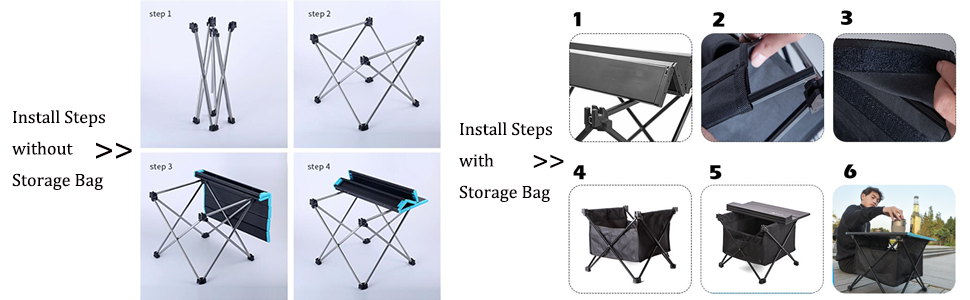 camping table install steps