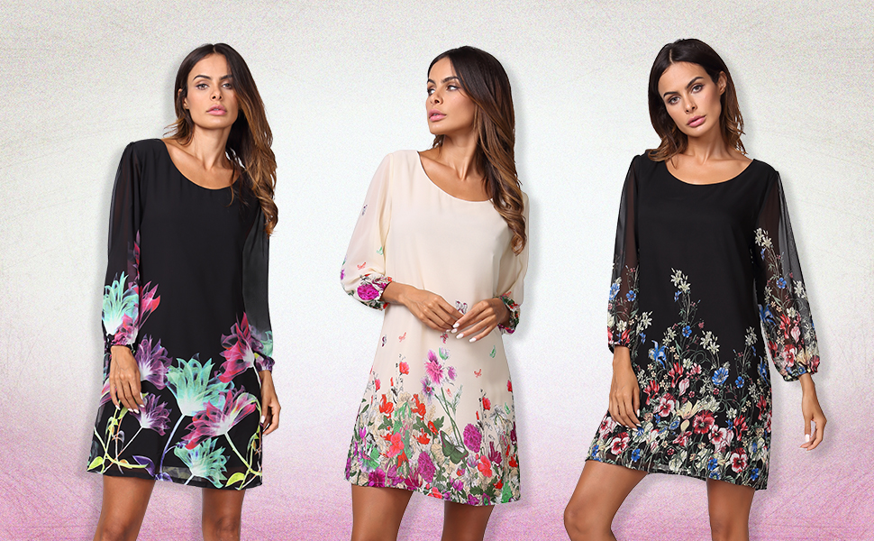 Women's Floral Pattern 3/4 Sleeve Chiffon Tunic Dress