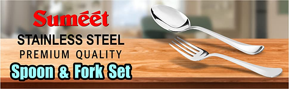 Sumeet Stainless Steel Premium Quality Spoon and Fork Set