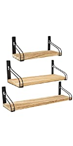 Wooden Floating Wall Shelves - 3 Pack