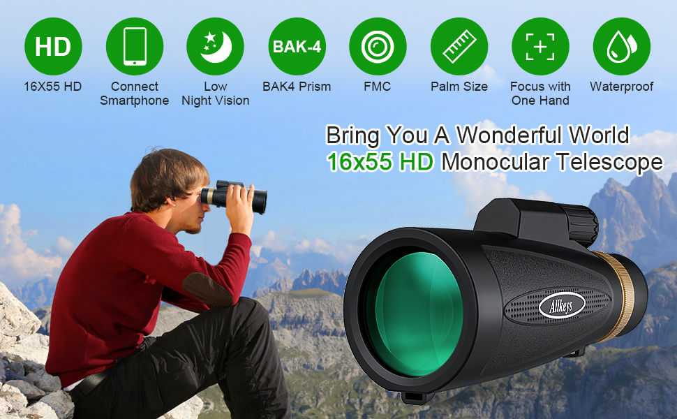 high definition monocular telescope night vision for smartphone iphone kids 40x60 60x52