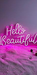 Hello beautiful pink neon sign
