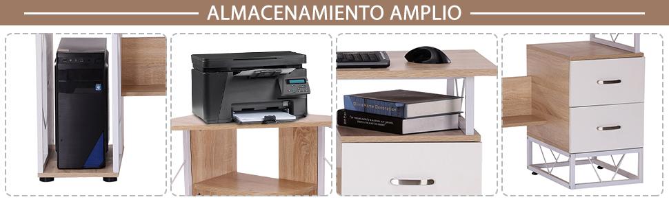 HOMCOM Mesa de Ordenador PC para Oficina Despacho Escritorio ...