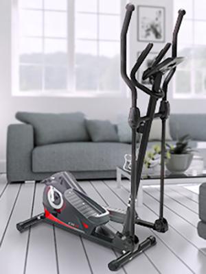 bicicleta eliptica de sportstech en el salon de una casa