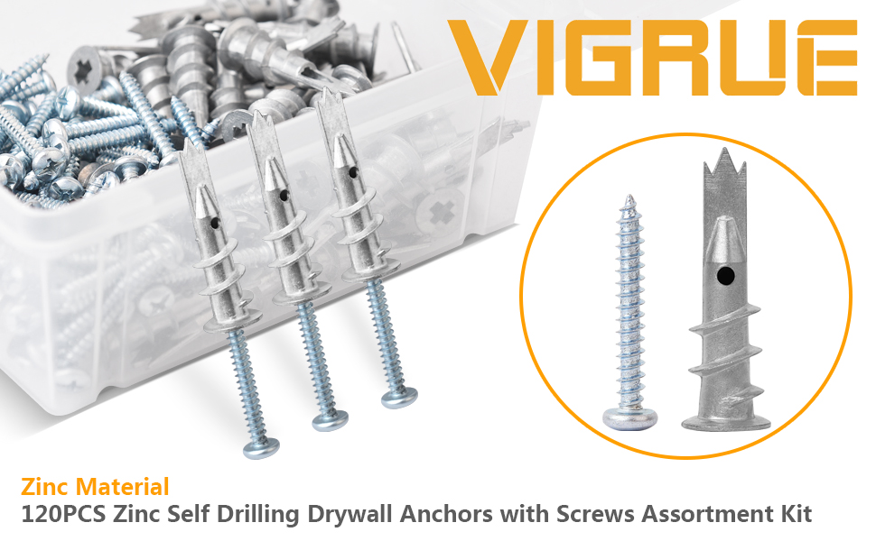 60pcs Self Drilling Anchors + 60pcs Self Tapping Screws VIGRUE Zinc Self Drilling Drywall Anchors Hollow-Wall Anchors M4 Screws Assortment Kit 200pcs All Together