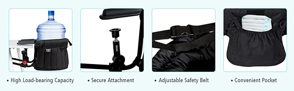 high load-bearing capacity, secure attachment, adjustable safety belt, convenient pocket