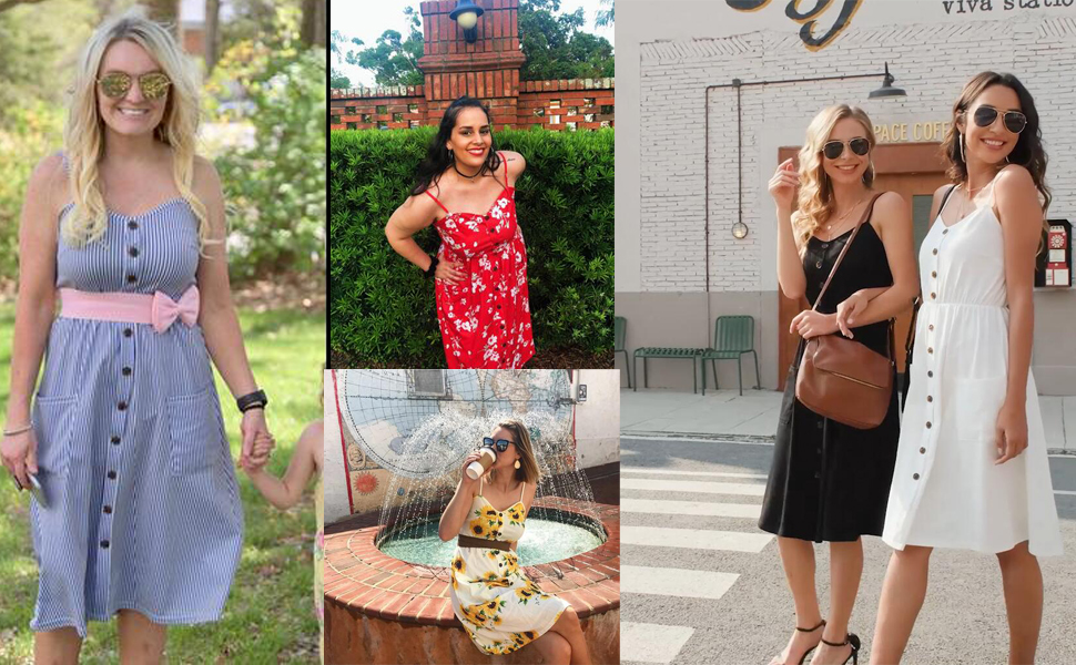 Women's Dresses Summer Bohemian Adjustable Spaghetti Strap Button Down Swing Midi Dress with Pockets