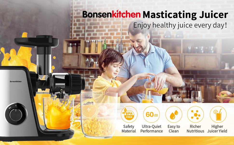 Bonsenkitchen Extractor de Zumos para Verduras y Frutas, Licuadora ...