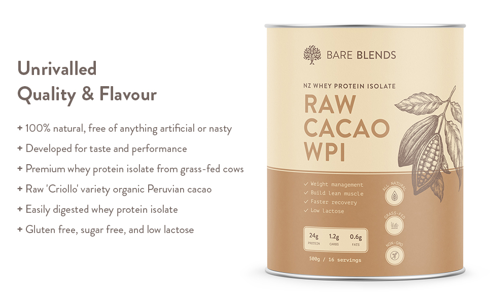 raw cacao WPI, Bare Blends, whey protein isolate, WPI, whey protein, chocolate whey