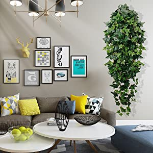 fake green hanging plants for wedding party decoration