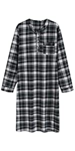 men long sleeves nightgown nightshirt cotton flannel plaid