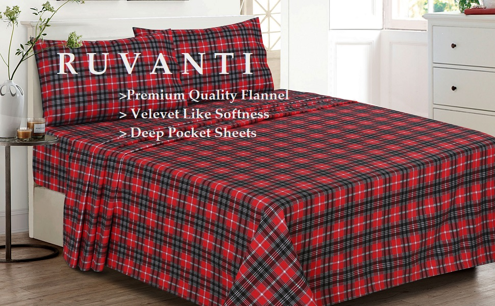 Amazon Com Ruvanti 100 Cotton 4 Piece Flannel Sheets Full Deep Pocket Warm Super Soft Breathable Full Size Flannel Bed Sheets Set Include Flat Sheet Fitted Sheet 2 Pillowcases Christmas Red Plaid Home