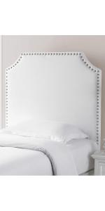 White beige linen canvas pink plush Nailhead Rivet Trendy Fashionable Stylish Headboard
