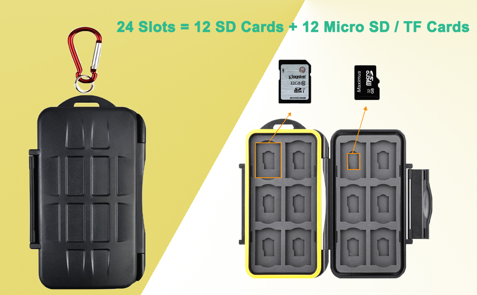 TKDY Memory Card Holder Case, 24 Slots Water-Resistant Shockproof Carrying Storage SD SDHC SDXC Protector Box, with Carabiner for 12 SD Cards and 12 ...