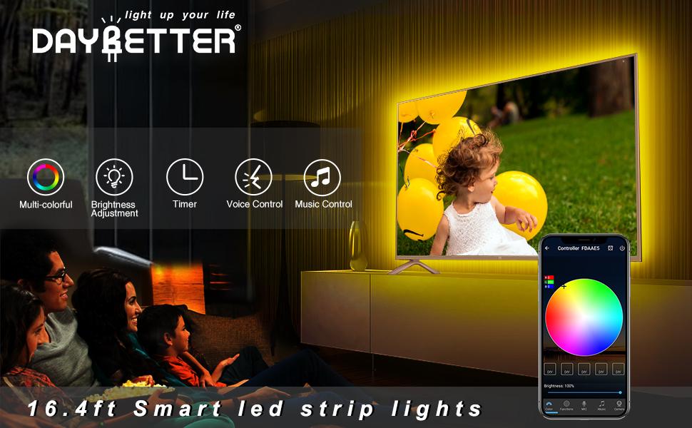Smart led strip lights 16.4ft