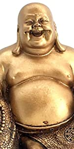 """A Golden Happy Buddha(Laughing Buddha) Feng Shui for Money and Wealths 6"""" Inches Copper"""
