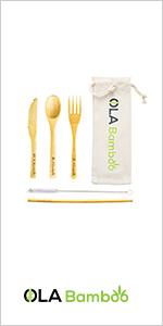 reusable utensils set zero waste kit bamboo wooden