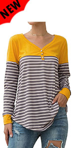Women's Striped Tunic Tops Color Block Blouse V-Neck Long Sleeve Flowy T Shirts