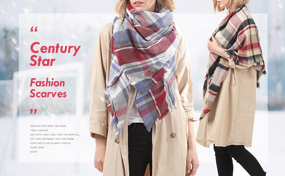 Century Star Womens Fall Winter Scarf Classic Tassel Plaid Scarf Warm Tartan Wrap Shawl