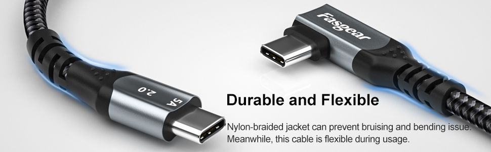 usb c to usb c 100w right angle cable 3ft 6ft 10ft type c 90 degree 100 watts pd cable 87w black