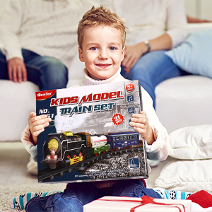 Christmas Train Set for Kids - Electric Battery Operated Toy Train for Christmas Tree Lights Sounds