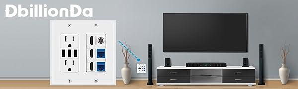 DbillionDa 2 Gang Power Outlet TV Wallplate