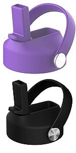 Purple and black straw lid